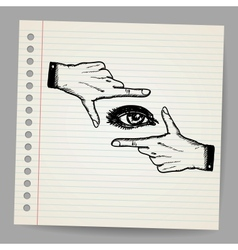 Doodle of two hands and eye being used to frame a vector image