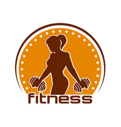 fitness emblem with training athletic woman vector image vector image