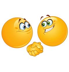 handshake emoticons vector image vector image
