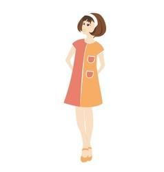Retro woman in a dress vector image