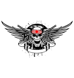 skull with band and swords vector image