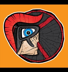 Spartan warrior face profile textured shield vector