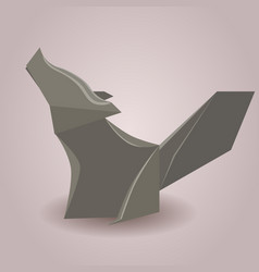 A paper origami wolf paper zoo element vector