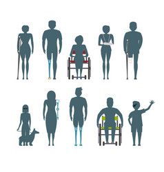 disabled people silhouette isolated set vector image vector image