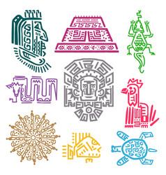 maya and aztec symbols vector image