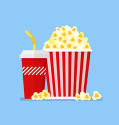 popcorn snack and drink in flat style vector image
