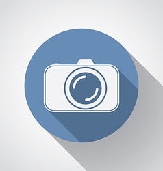 Professional photocamera flat icon with long vector image vector image