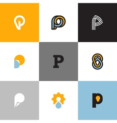 Set of letter P logo templates vector image vector image