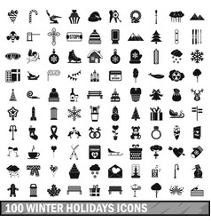 100 winter holidays icons set simple style vector image vector image