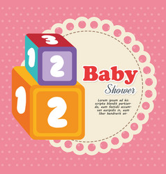 cubes with numbers baby shower card vector image vector image