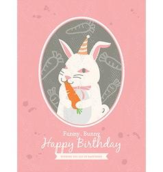 Cute rabbit Animal Cartoon Birthday card design vector image vector image