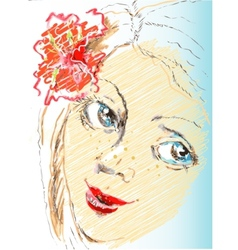portrait sketch girl with flower vector image