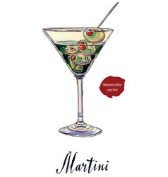 an olive martini cocktail with bubbles vector image