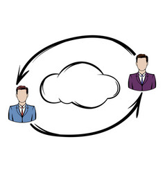 two men exchange information icon vector image