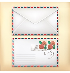 White envelop with rose stamp vector image vector image