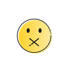 Yellow cartoon face silent not speaking people vector