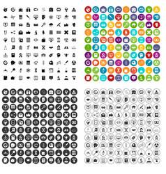100 analytics icons set variant vector