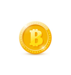 3d realistic gold bitcoin coin vector image