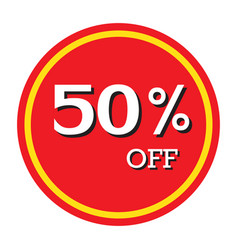 50 off discount price tag isolated vector