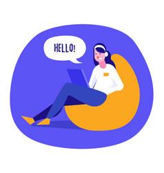 a girl communicating online on internet vector image