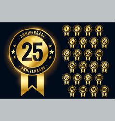 Anniversary golden badges labels or emblem vector