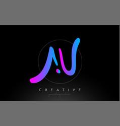 Au artistic brush letter logo handwritten vector