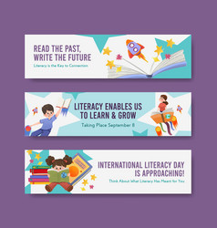 Banner template with international literacy day vector