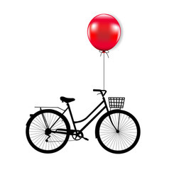 bicycle with red balloon vector image