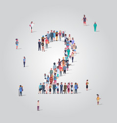 big people crowd forming number two 2 shape vector image