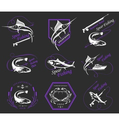 Big Set of Logos Badges and Icons Spearfishing vector image