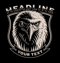 Black and white of eagle head vector