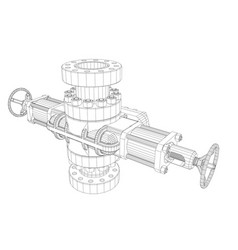 Blowout preventer wire frame style vector