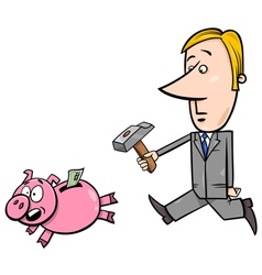 businessman chase piggy bank vector image