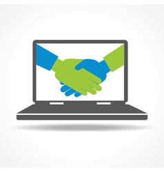 Businessman handshake in laptop background vector