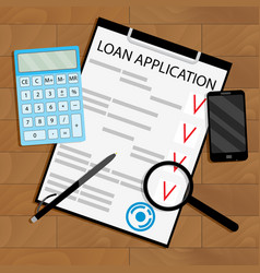 Calculate loan payments top view table vector