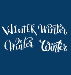 calligraphic set of handdrawn lettering winter vector image