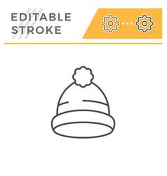 cap editable stroke line icon vector image