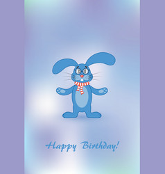 card for your birthday rabbit with gift vector image