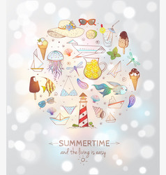 card with summer doodle sketch elements vector image