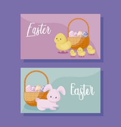 cards with cute rabbit and chickens of easter vector image