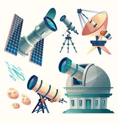 Cartoon astronomy set astronomical vector