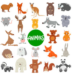 cartoon wild animal characters large set vector image