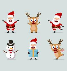 christmas santa claus reindeer and snowmen vector image