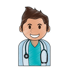 Color pencil cartoon half body young male vector