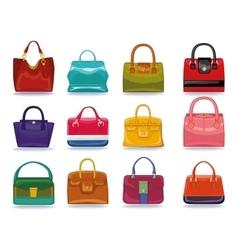 Colored female handbags setfashion vector