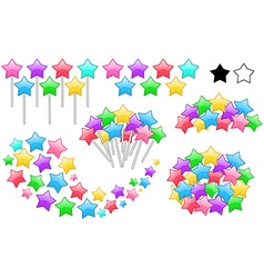 Colorful Stars On Sticks Set vector image