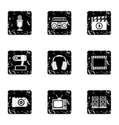 Communication device icons set grunge style vector