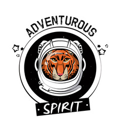 Cool tiger on astronaut helmet print for t shirt vector