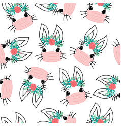 covid19 easter rabbit with face mask seamless vector image