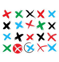 cross sign green check mark and red x badges vector image